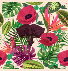 Colorful tropical floral background exotic plant vector