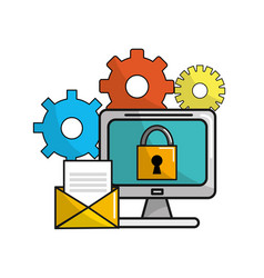 Computer with padlock security message and gears vector