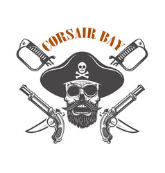 corsair bay emblem with pirate skull and weapon vector image