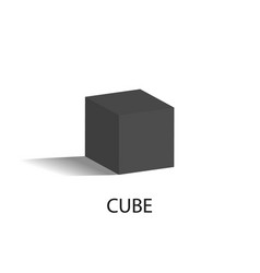 cube isolated geometric figure of black color vector image