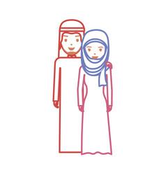 cute arab couple cartoon neon lines vector image