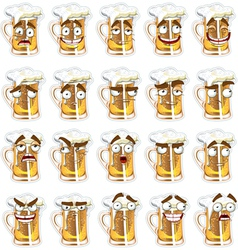Cute series of smiles beer vector