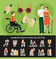Disabled person colored composition vector