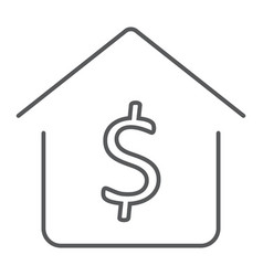 Dollar house thin line icon real estate and home vector
