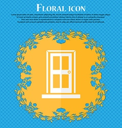 Door icon sign Floral flat design on a blue vector image
