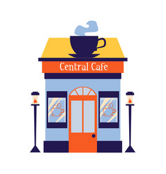 facade coffee shop or cafe with big cup sign flat vector image