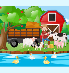 farm scene famer and farm animals by the river vector image