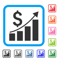 financial growth bar chart framed icon vector image