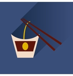 Flat with shadow Icon Chinese noodles sticks vector
