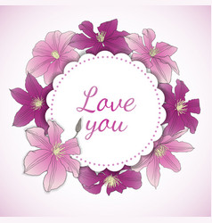 floral card with clematis flowers vector image