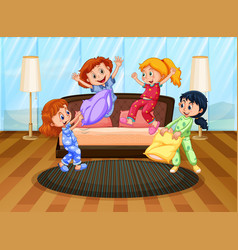 Four girls in pajamas playing with pillows vector