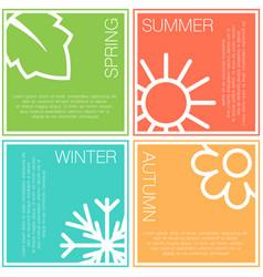 Four nature seasons color squares vector