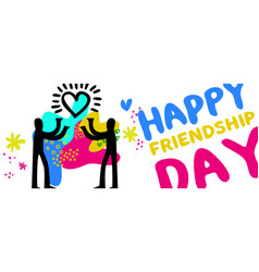 Friendship day web banner of friend love concept vector