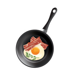 frying pan with egg and bacon vector image