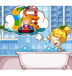 Girl daydreaming in the bathtub vector