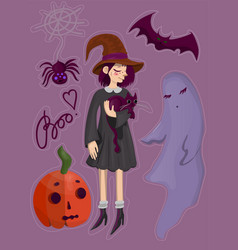 halloween elements collectioneps vector image