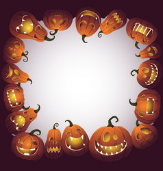 halloween frame with scary pumpkin monsters vector image