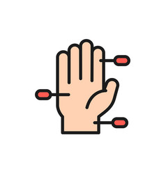 Hand acupuncture flat color line icon isolated vector