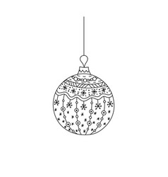 hand drawn christmas ball toy with thread vector image