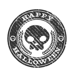 Happy Halloween Skull Rubber Stamp vector image