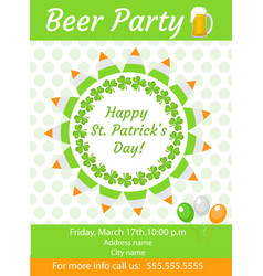 happy st patrick s day invitation poster flyer vector image