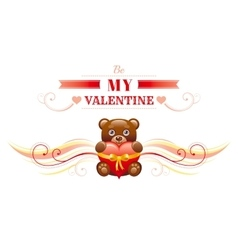 Happy Valentines day border toy bear with heart vector image