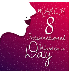 Happy women day greeting card with female face vector