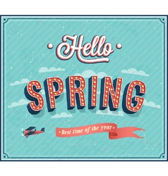 Hello spring typographic design vector