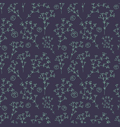 herbs and flowers botanical pattern seamless vector image