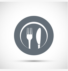 icon plate with fork and knife vector image