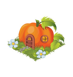 isometric cartoon fantasy pumpkin village house vector image
