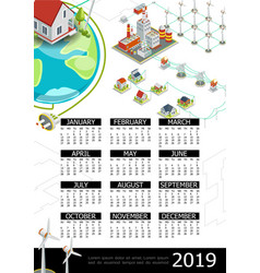 isometric electricity 2019 year calendar template vector image
