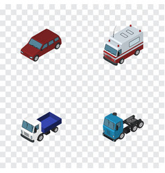 Isometric transport set of first-aid lorry car vector