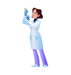 Laboratory assistant holds and looks at test tube vector