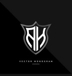 Letters ah monochrome silver shield monogram logo vector