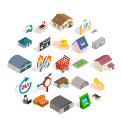 Levy icons set isometric style vector