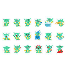 Little dragon cute emoji set vector