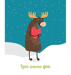 Love warms you Cute moose hugging big red heart vector