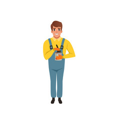 male painter in uniform holding can of paint vector image