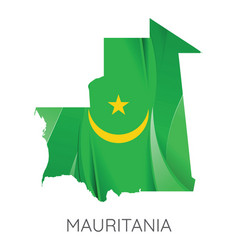 map mauritania with an official flag on white vector image