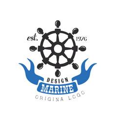 Marine logo original design retro label for vector