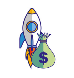 money bag rocket startup business vector image