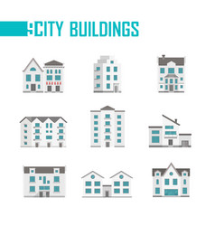 nine city buildings set of icons vector image