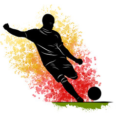 one caucasian soccer player man playing kicking in vector image