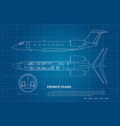 Outline private airplane interior side top view vector