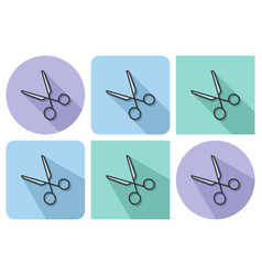 outlined icon of scissors with parallel and not vector image