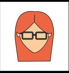 People avatar face woman with glasses icon vector
