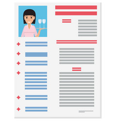 photo of responsive waitress with tray on resume vector image