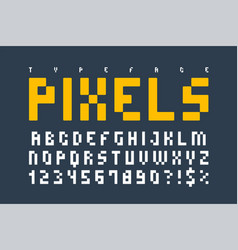 pixel trendy typeset simple font system computer vector image