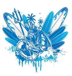 Poseidon surfer vector